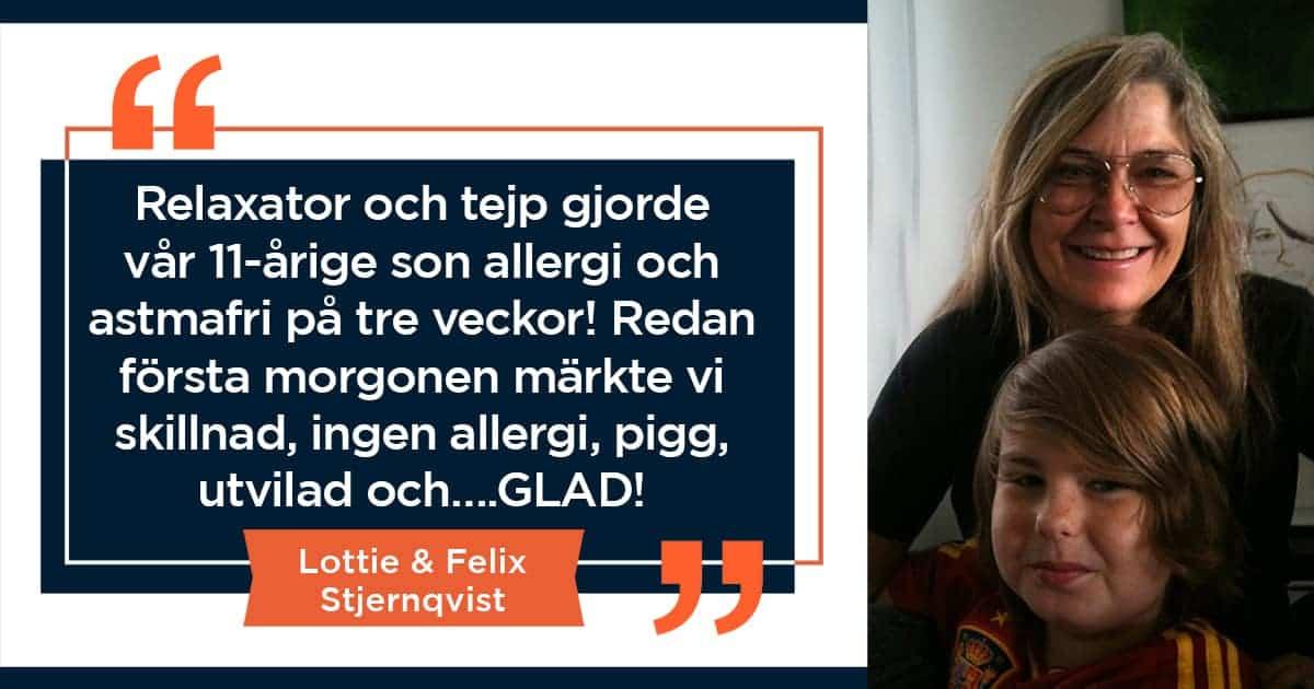 Relaxator och tejp gjorde 11-åring allergi- och astmafri på 3 veckor!