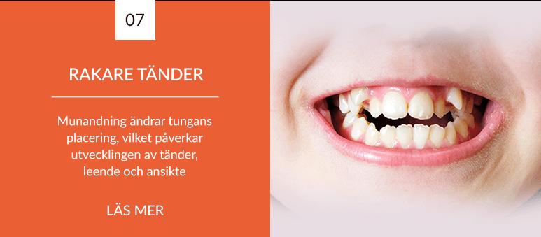 Munandning påverkar ett barns tänder, ansikte, leende och luftvägar negativt